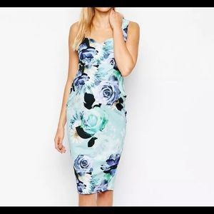 ASOS Maternity Scuba Bodycon Dress Mint Floral